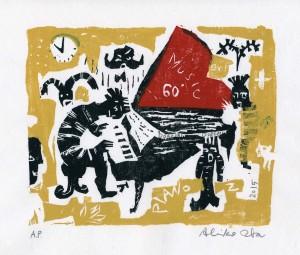 PIANO Z / Oba, Akiko / woodcut / gouache /2015